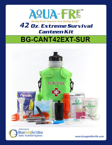 42 Oz. Extreme Survival Canteen Kit - Blue Gold For Life Inc
