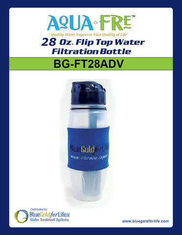 28 Oz. Flip Top Water Filtration Bottle - Blue Gold For Life Inc