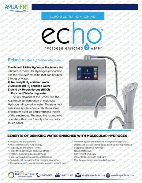 Echo® 9 Ultra H2 Under Sink System with Digital Faucet - Blue Gold For Life Inc