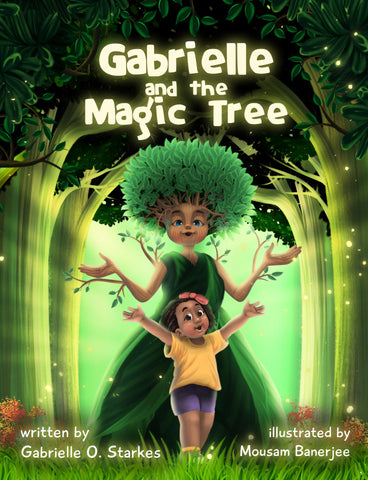 illustration of a girl and a character tree