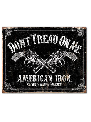 "American Iron - 16"" x 12.5"" - Tin Sign - Don't Tread On Me"