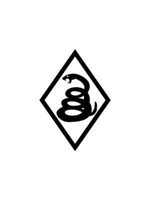 Snake Diamond - 4 x 6 Black Vinyl Decal Sticker - Don't Tread On Me