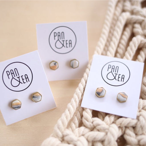 marble hexagon earrings by Pan and Tea