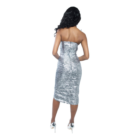 """Cosmic ""Metallic Asymmetrical  Dress"