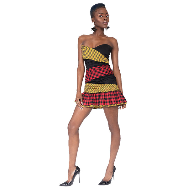 """Mixxy""Plaid Mini Dress"