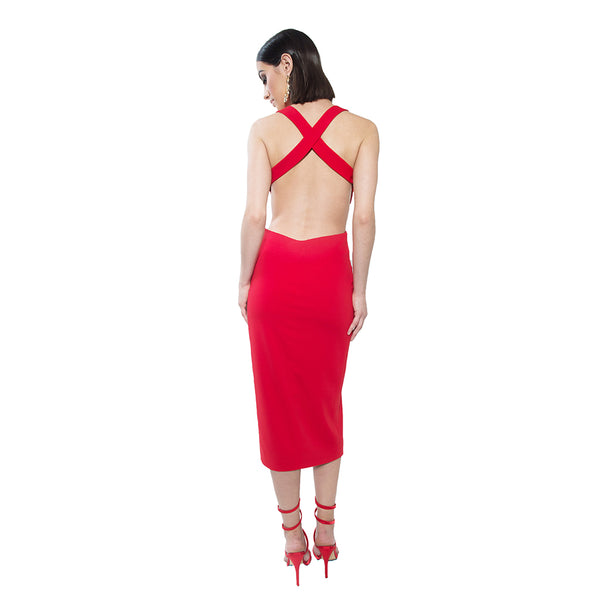 """Niki""Criss Cross Halter Dress"