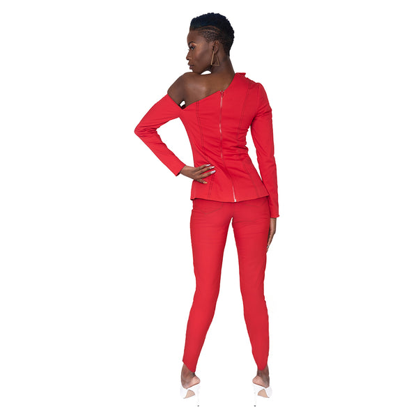 """Cher"" Red Contrast Stitch Pants"