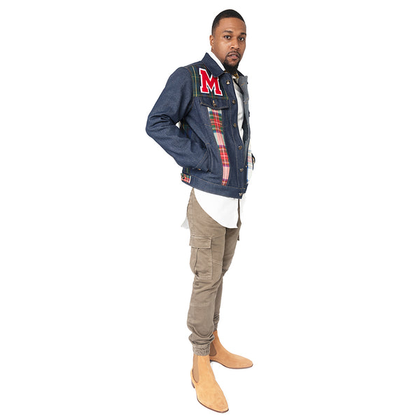 """Varsity"" Men's Patch Work Denim Jacket"