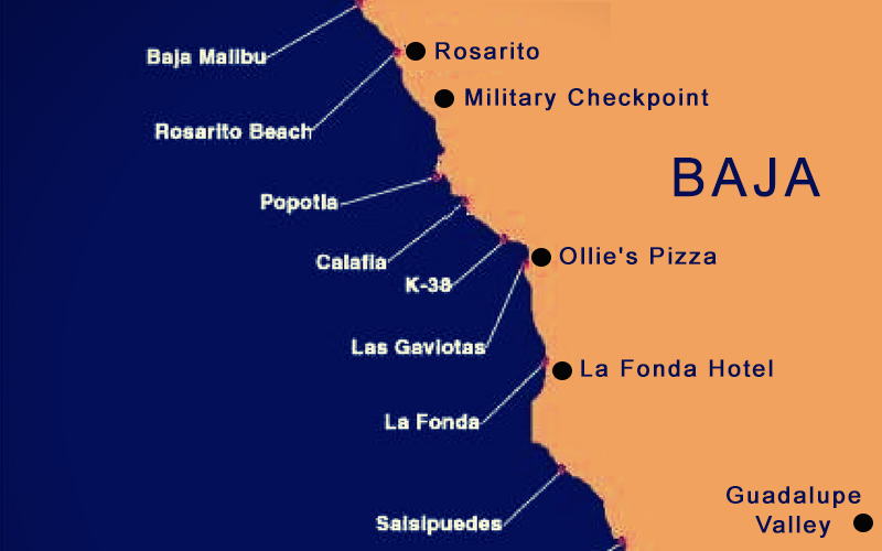 Surfing Northern Baja Map