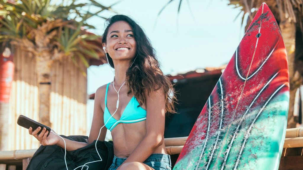 Woman Surfer with Headphones On