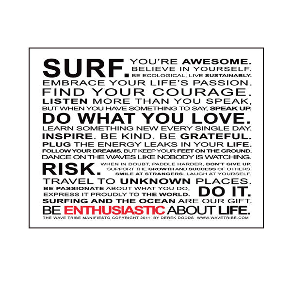 Wave Tribe Manifesto Fridge Magnet - Wave Tribe | Share The Stoke ®