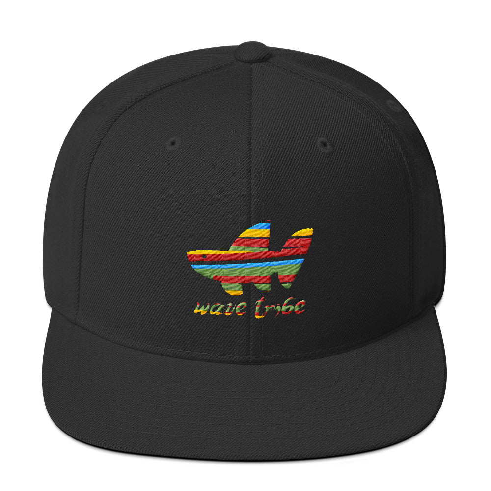 Wave Tribe Rainbow Whale Shark Logo Snapback Hat