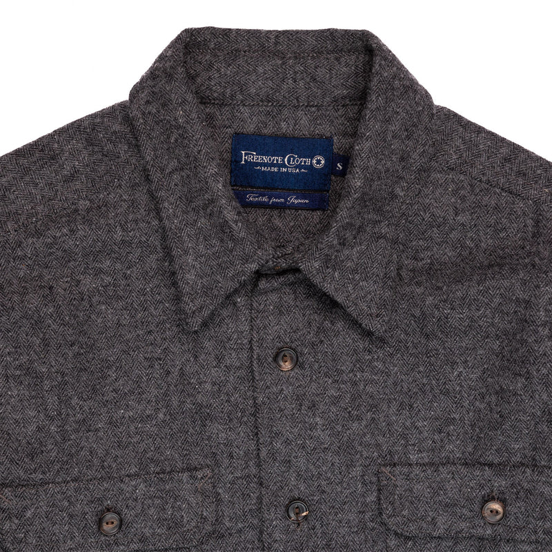 Freenote Benson Charcoal Herringbone Collar Detail