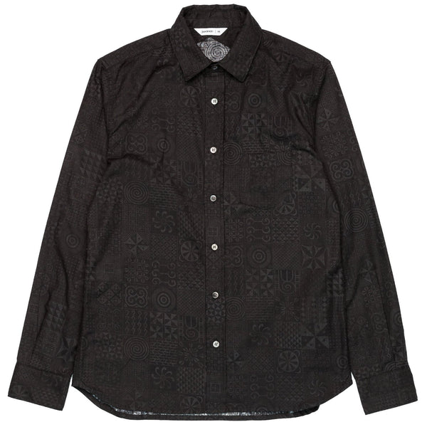 3sixteen Button Down Black Geo Print Front