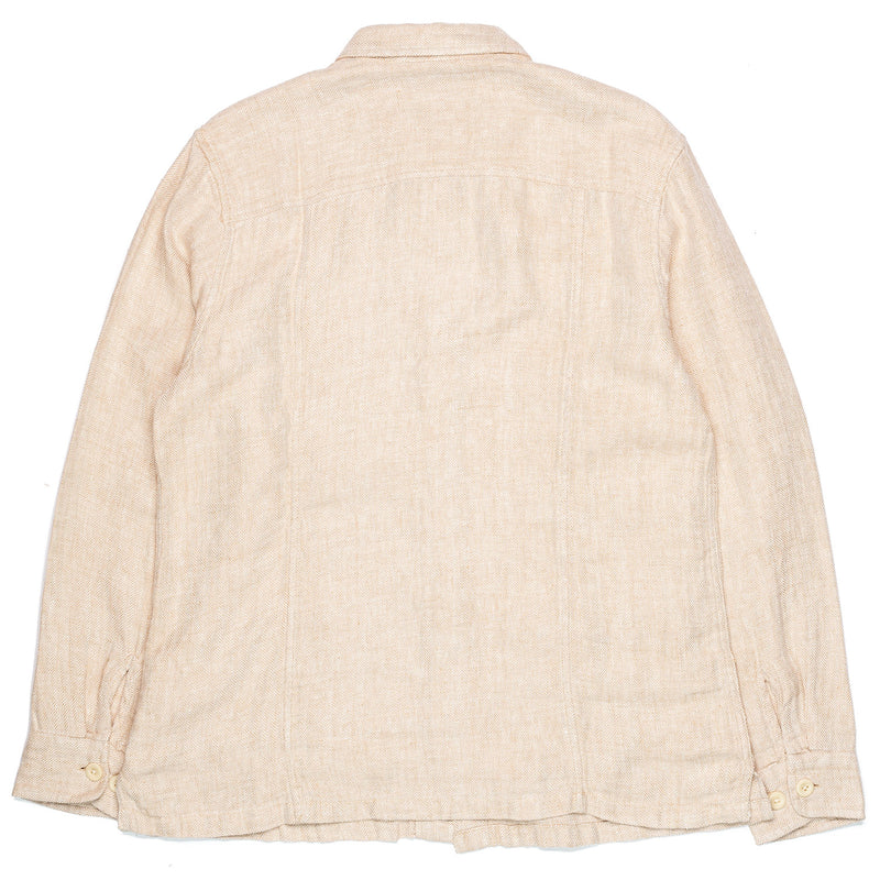 Corridor Overshirt Natural Linen Herringbone Back