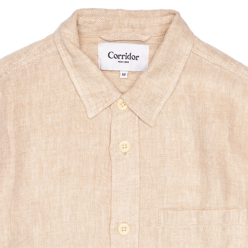 Corridor Overshirt Natural Linen Herringbone Collar