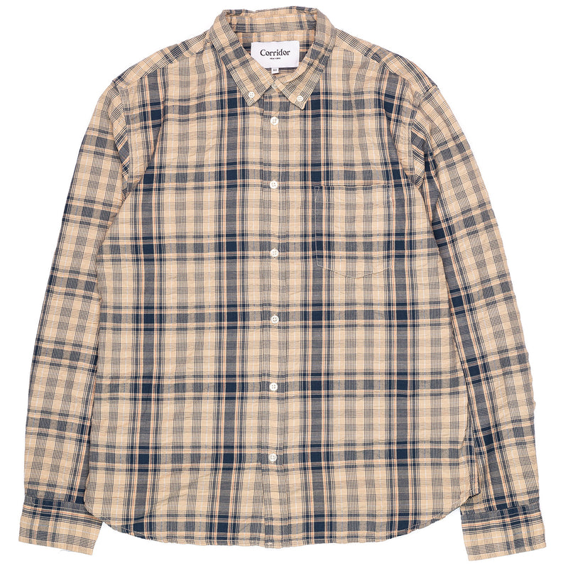 Corridor Long Sleeve Indigo Seersucker Plaid Front