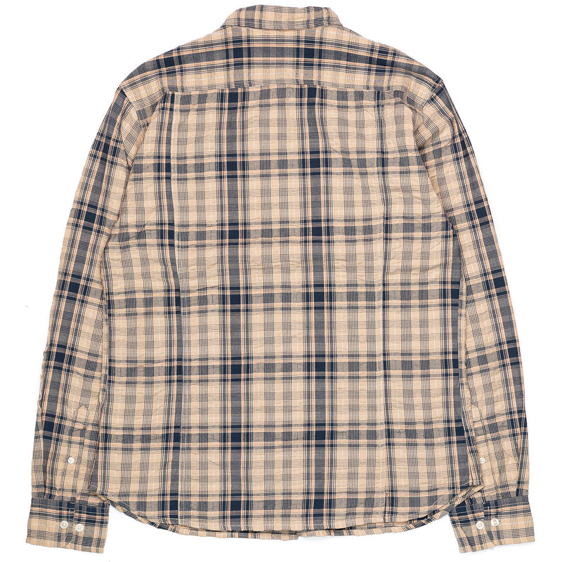 Corridor Long Sleeve Indigo Seersucker Plaid Back