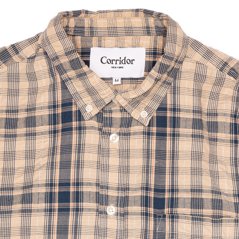 Corridor Long Sleeve Indigo Seersucker Plaid Collar