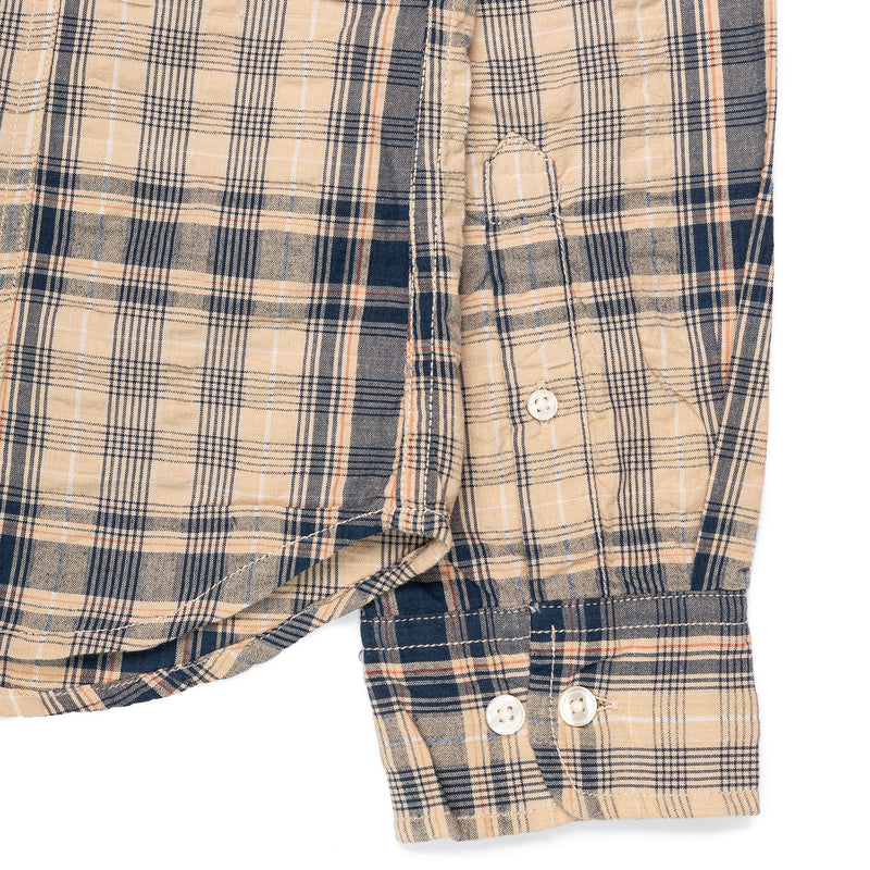 Corridor Long Sleeve Indigo Seersucker Plaid Cuff