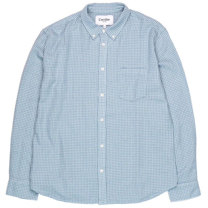 Corridor Long Sleeve Sky Blue Summertime Check Front