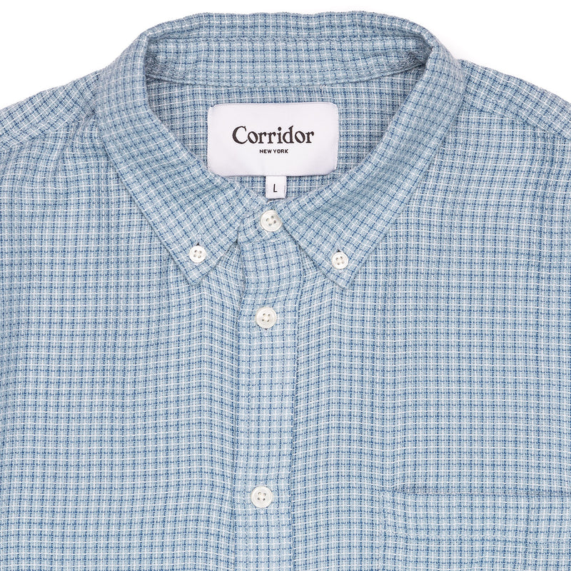Corridor Long Sleeve Sky Blue Summertime Check Collar