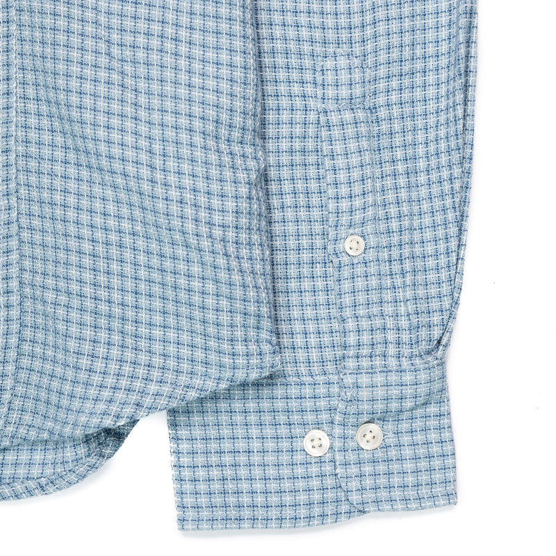 Corridor Long Sleeve Sky Blue Summertime Check Cuff