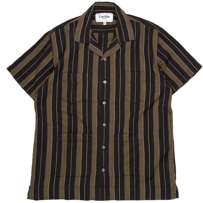 Corridor Short Sleeve Black Olive Summer Stripe Front