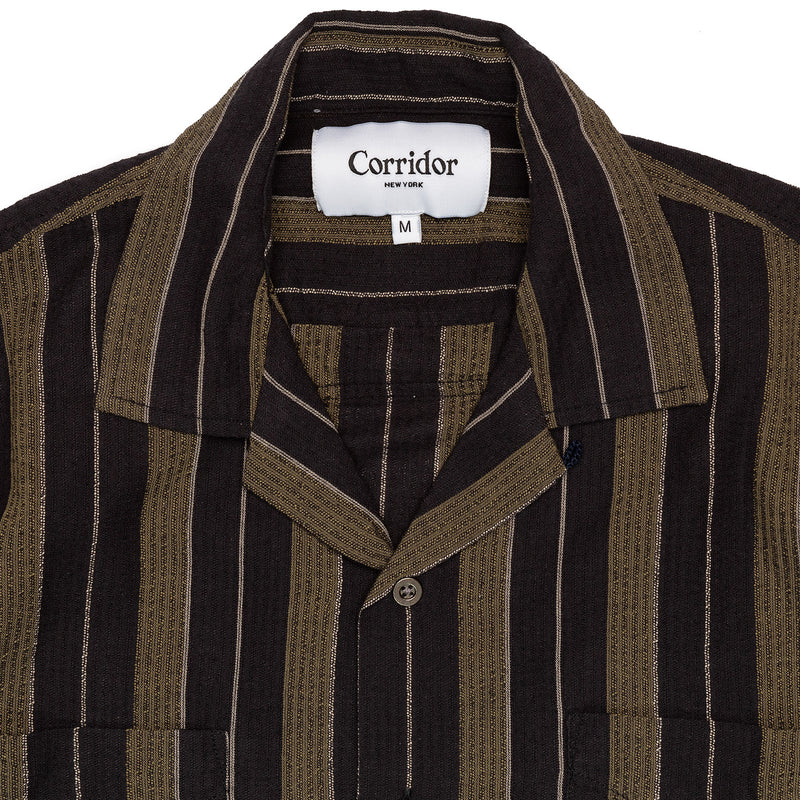 Corridor Short Sleeve Black Olive Summer Stripe Collar