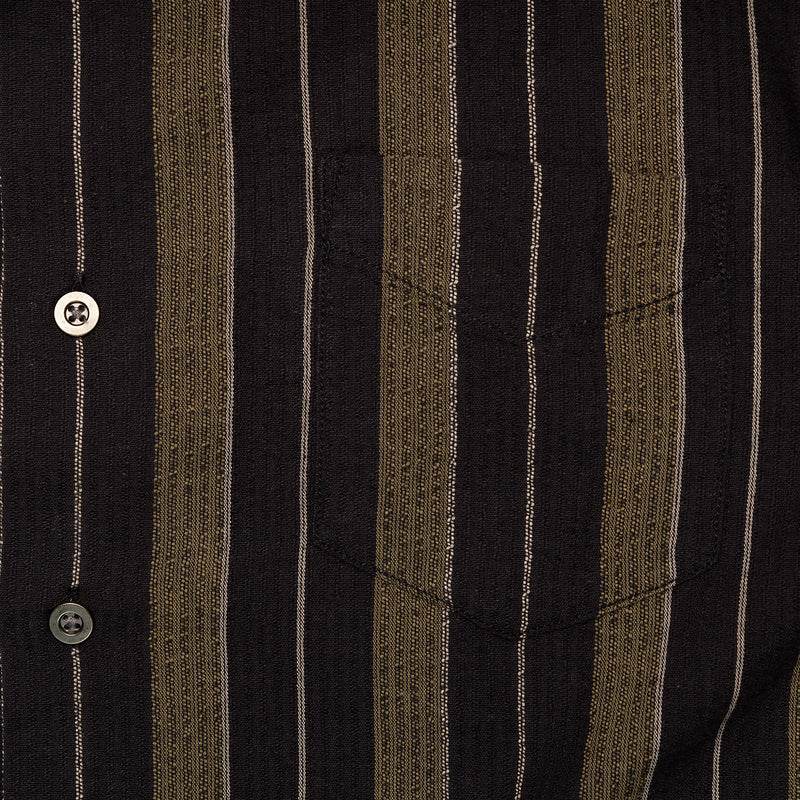 Corridor Short Sleeve Black Olive Summer Stripe Chest Pocket
