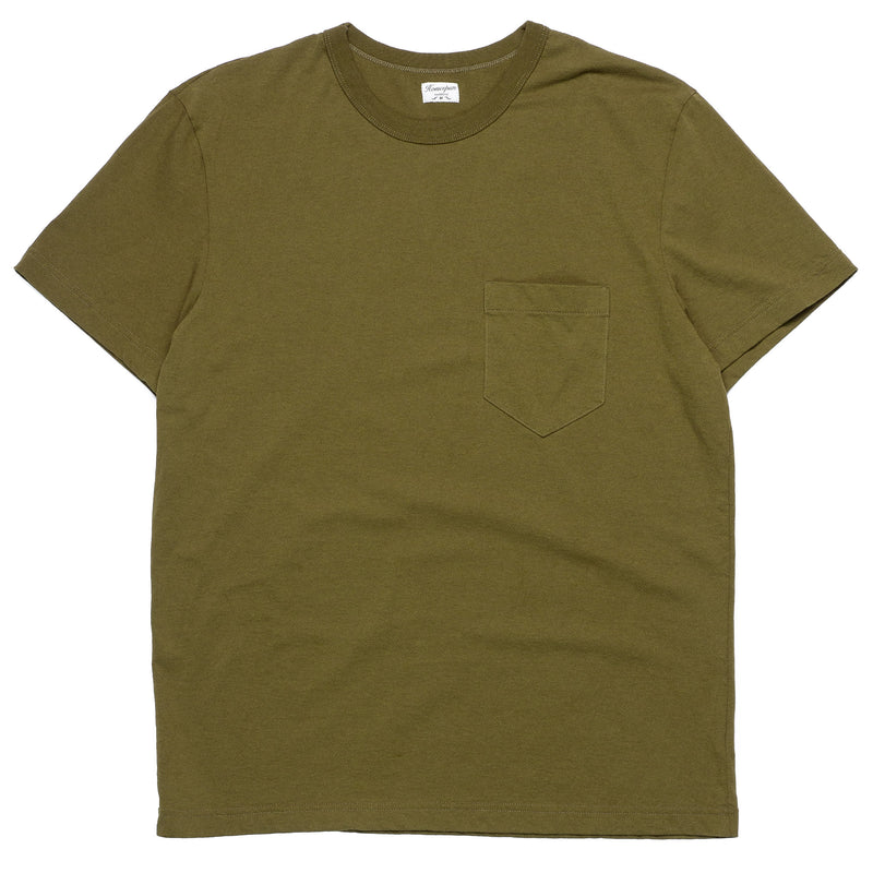 Homespun Knitwear Dad's Pocket Tee Olive Front