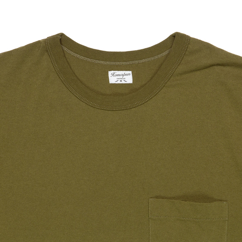 Homespun Knitwear Dad's Pocket Tee Olive Collar