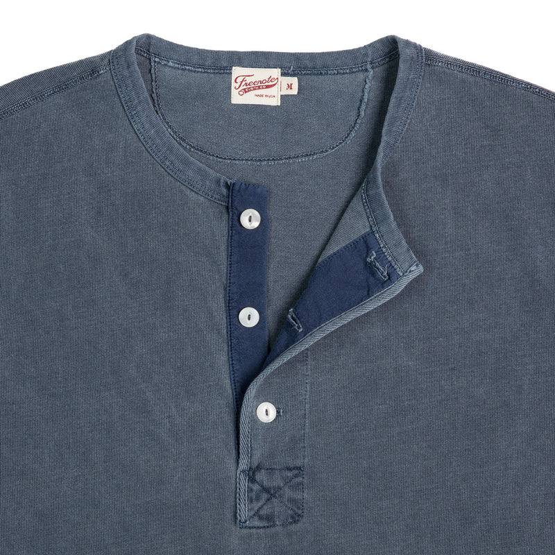 Freenote Cloth 13oz Henley Faded Blue Collar Detail