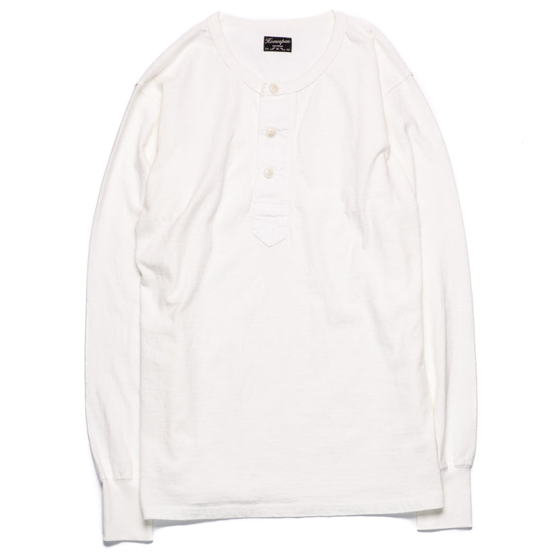 Homespun Knitwear Surplus Henley Off-White Front