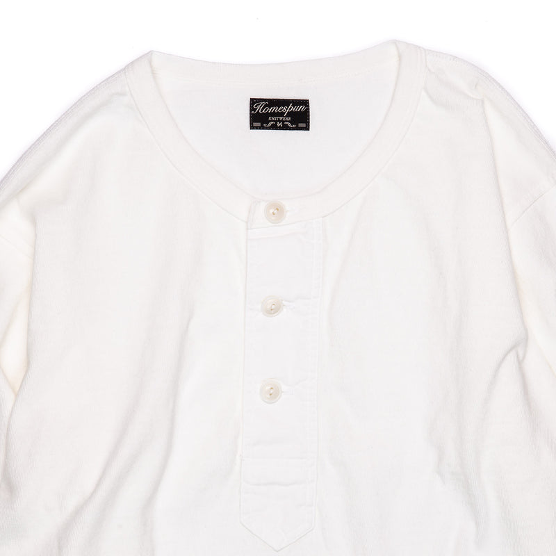 Homespun Knitwear Surplus Henley Off-White Collar Detail