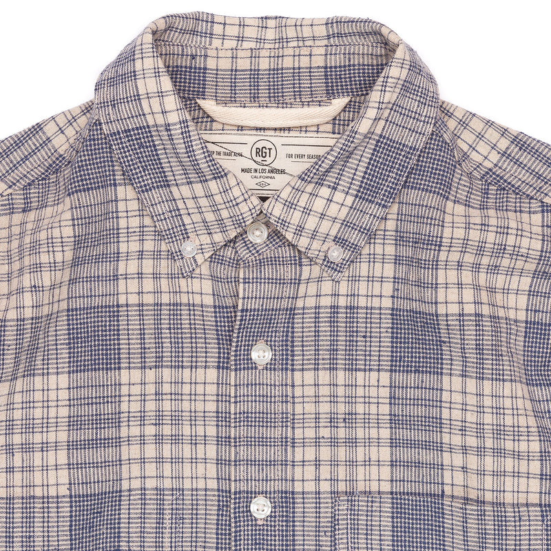 Rogue Territory Jumper Shirt Linen Blend Plaid Collar