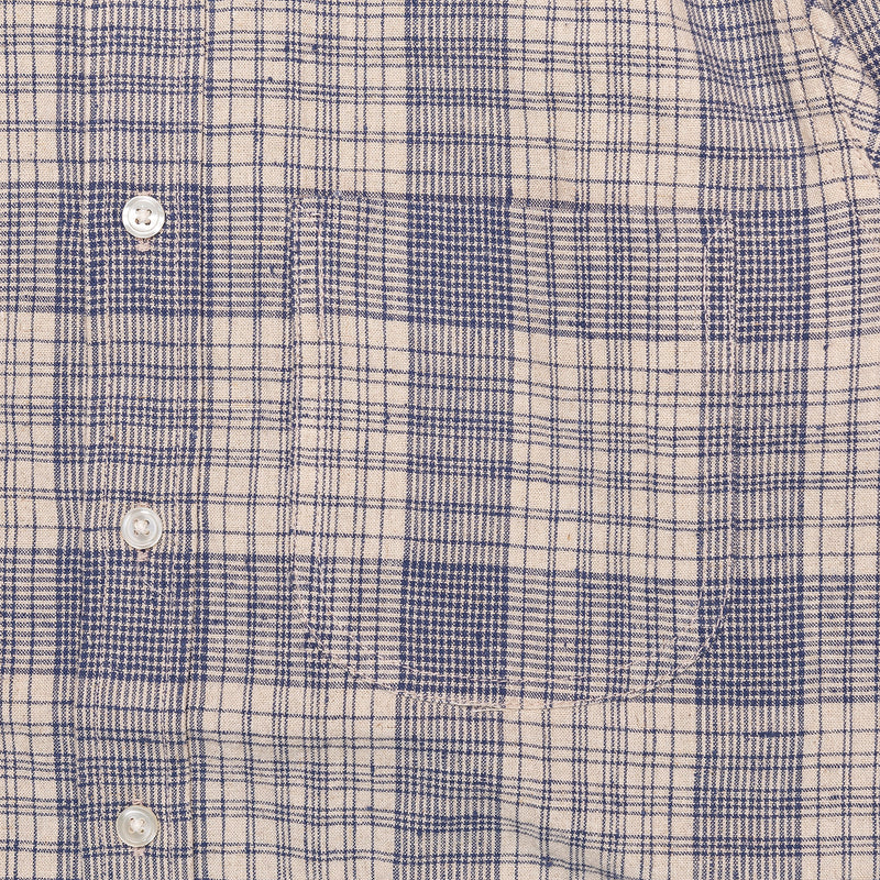 Rogue Territory Jumper Shirt Linen Blend Plaid Chest Pocket