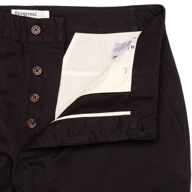 Universal Works Military Chino Black Button Fly