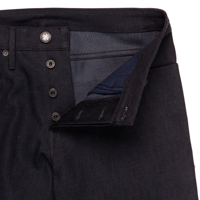 Freenote Cloth Portola Black Grey 14.25 oz Denim Fly Detail