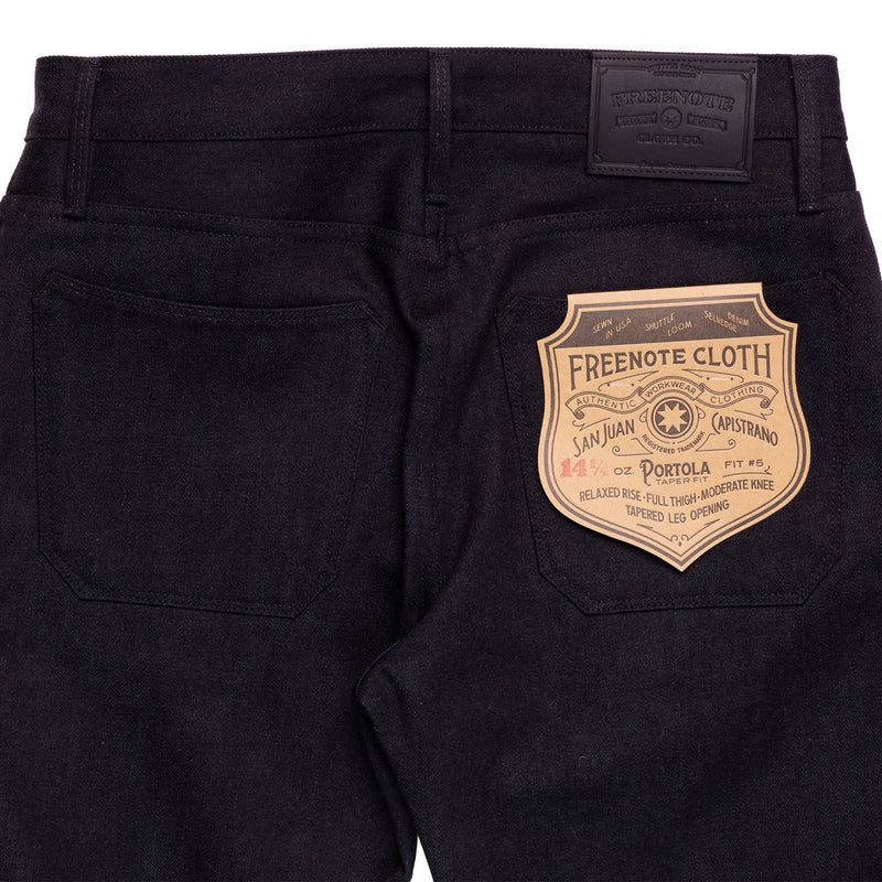 Freenote Cloth Portola Black Grey 14.25 oz Denim Back Detail