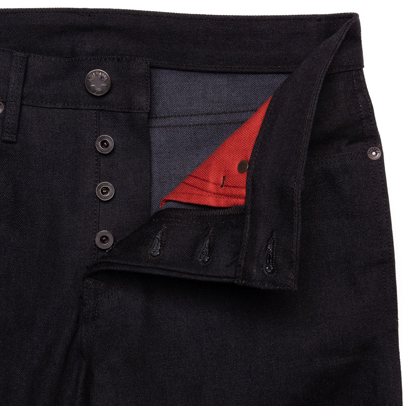 Freenote Cloth Rios  Black Grey Denim Fly Detail