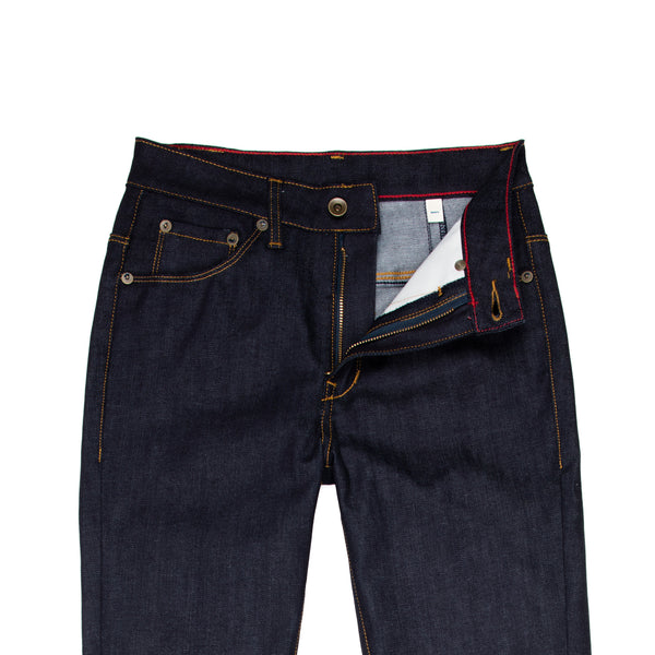 Raleigh Denim + Workshop -Raleigh Haywood Women's Jean—Cone Mills Raw Stretch Denim - BlackBlue - Default - 2