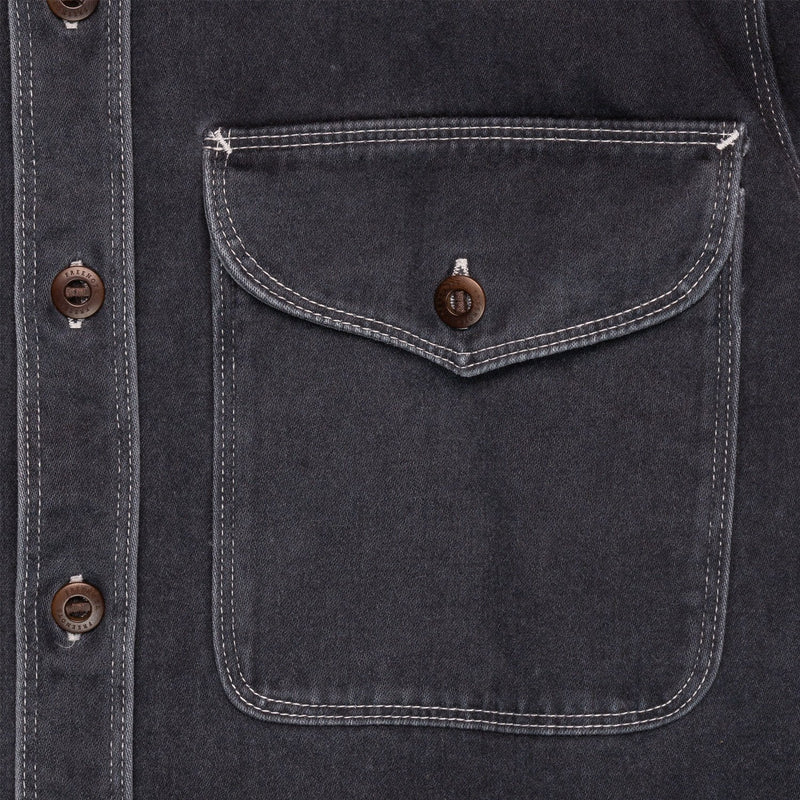 Freenote Cloth Utility Shirt Charcoal Pocket Detail