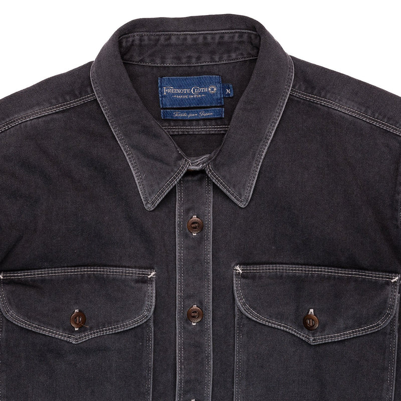 Freenote Cloth Utility Shirt Charcoal Collar Detail