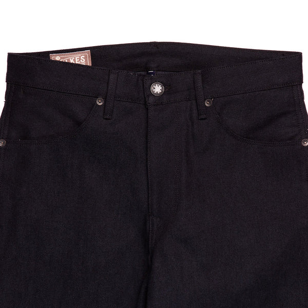Freenote Cloth Wilkes Black Grey Denim Front Detail