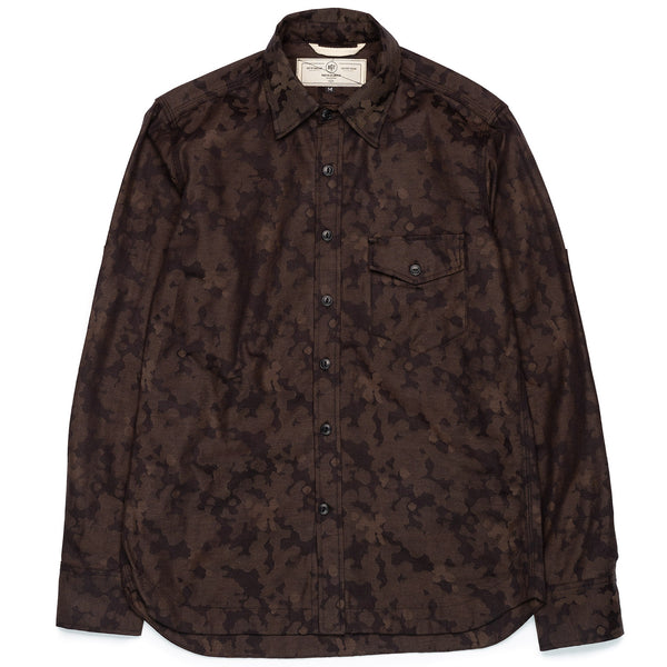 Rogue Territory Work Shirt Oxford Brown Camo Jacquard Front