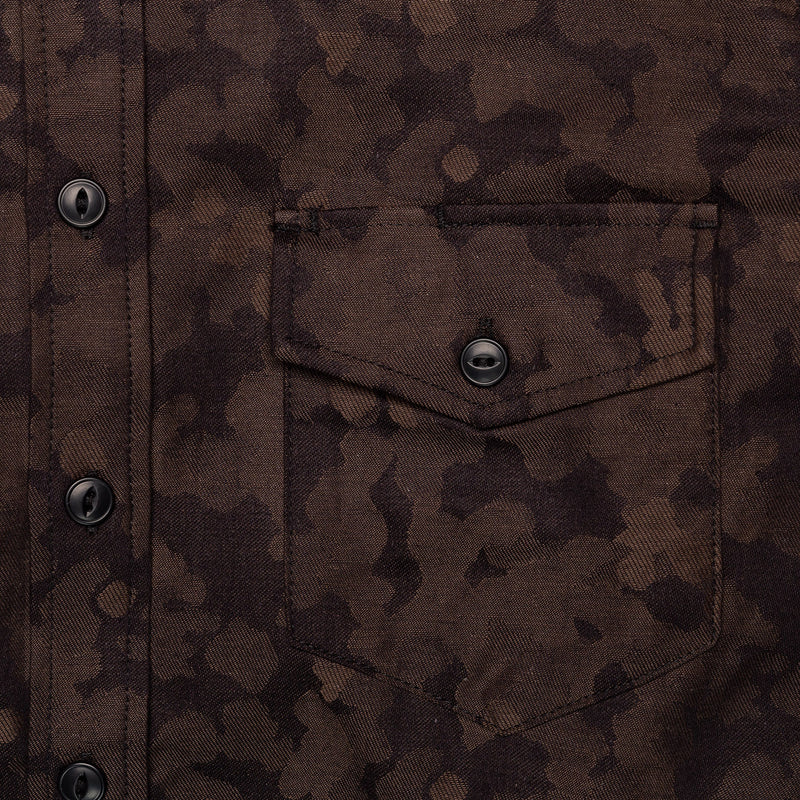 Rogue Territory Work Shirt Oxford Brown Camo Jacquard Chest Pocket
