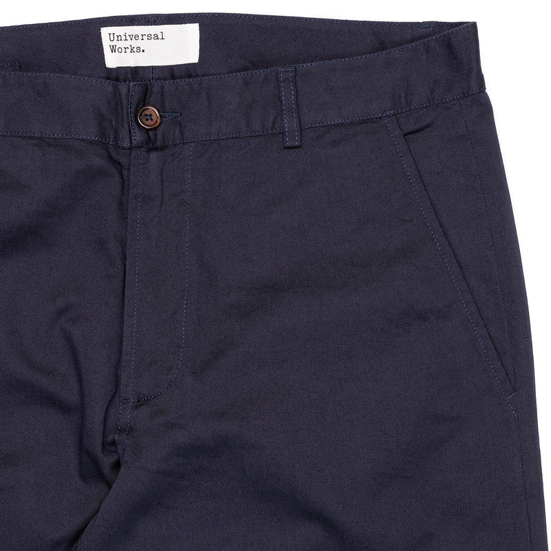 Universal Works Aston Pant Navy Front Pocket Detail