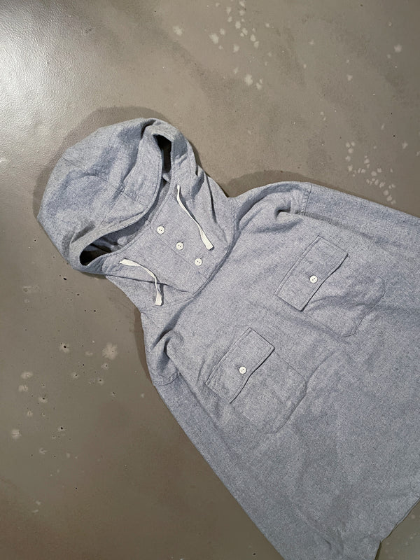 Cagoule Shirt - Light Grey Brushed Cotton Twill