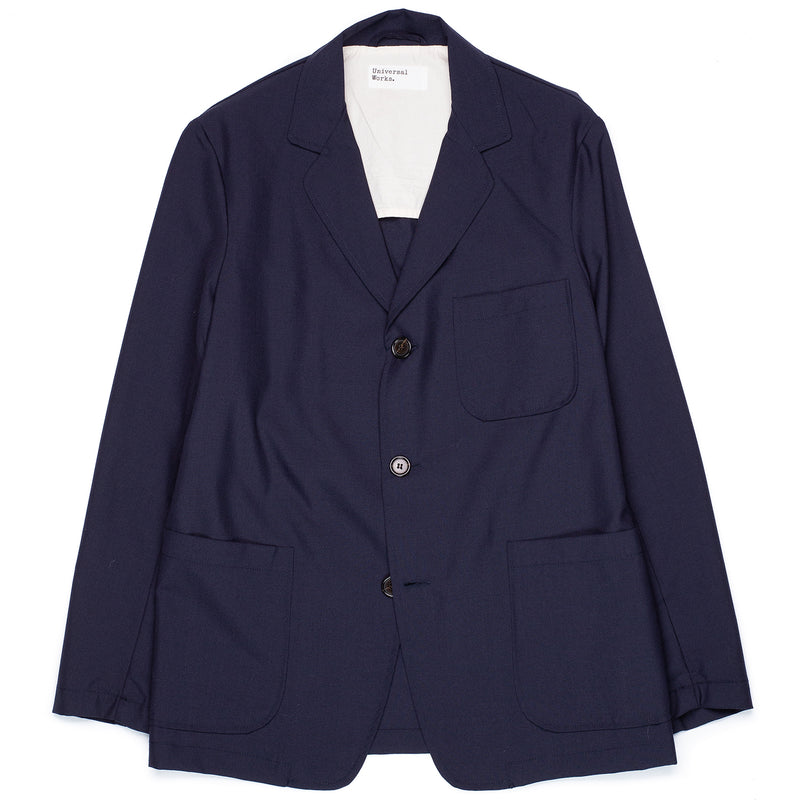 Universal Works Three Button Jacket Navy Front